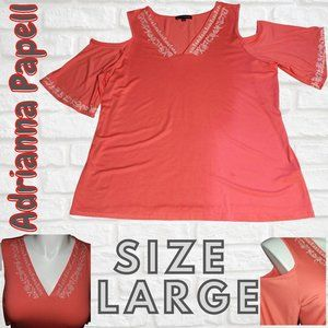 Adrianna Papell Women's Coral Shirt Size Large